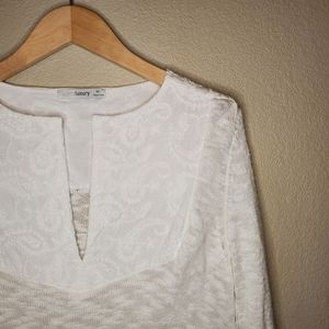 White embroidery vacation top sweater split neck